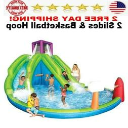 Inflatable Water Park with 2 Slides & Basketball Hoop BEST f