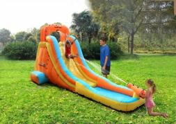 Inflatable Water Slide Cannon Climbing Wall w/ Electric Fan