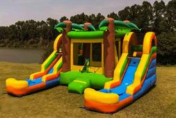 Inflatable Water Slide Combo Dual Lane Tropical 100% Commerc