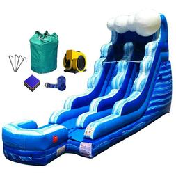 15' Inflatable Water Slide Commercial Bouncer Tidal Wave Mar
