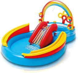 Inflatable Water Slide Play Center Pool Sprayer Rainbow Ring