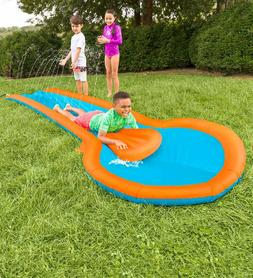 Inflatable Water Slide w/ Two Speed Boards and Landing Pool,