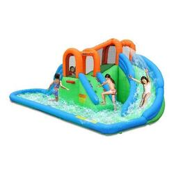 Bounceland Island Water Slide with Basketball Hoop and Pool