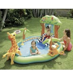 INTEX Jungle Play Center Inflatable Kid Swimming Pool + Spra