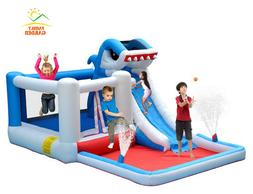 Kids Big Commercial Inflatable Shark Water Slide Bounce Hous