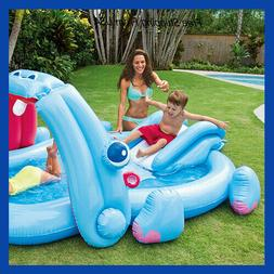 Banzai Kids Inflatable Hippo Play Center Kids Pool Slide And