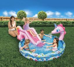 Banzai Kids Inflatable Unicorn Swimming Pool with Slide