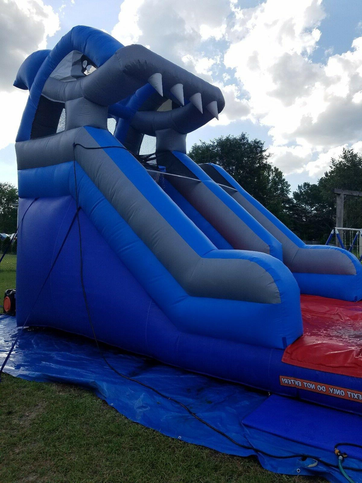 14 foot commercial inflatable shark water slide