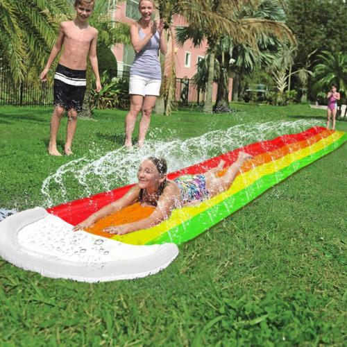 14Ft Lawn Water Slides Rainbow Silp Slide with Spraying and Crash Pad