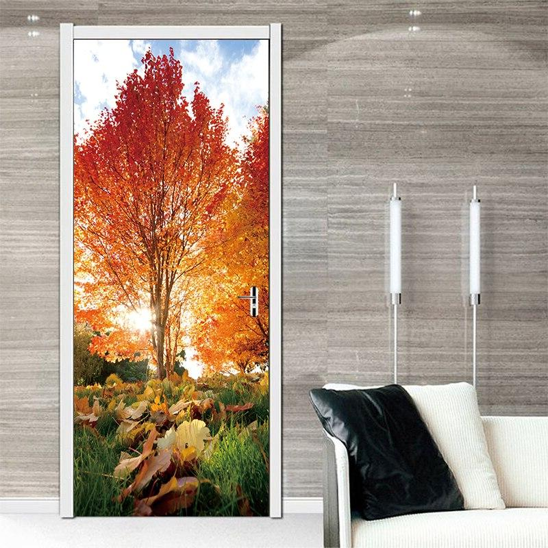 2pcs/set 3D Effect Autumn Maple Sticker Door Waterproof Wall Sticker Home Bedroom Decorative