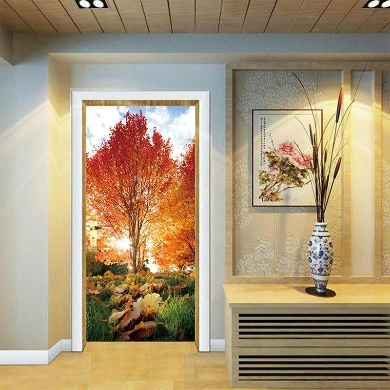 2pcs/set 3D Effect Maple Leaf Park Sticker Waterproof Wall Bedroom