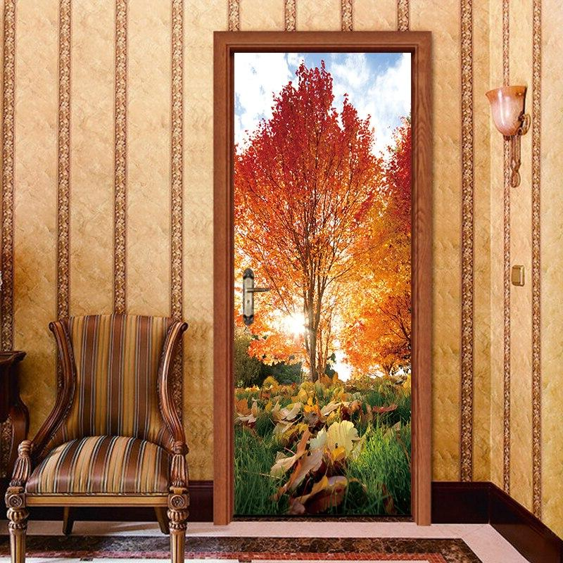 2pcs/set Autumn Maple Leaf Sticker <font><b>Sliding</b></font> Door Waterproof Wall Bedroom