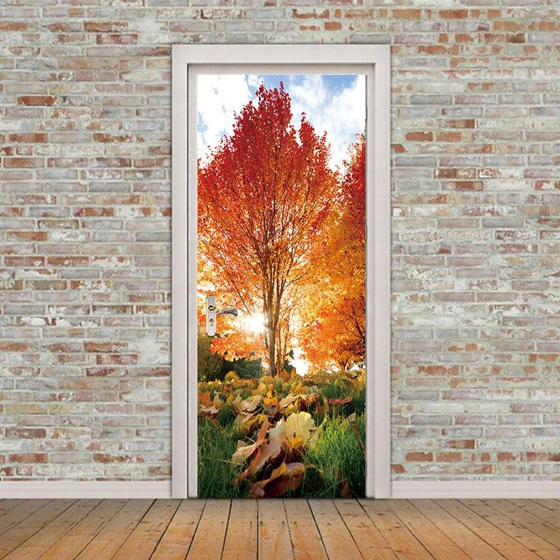2pcs/set Maple Door Waterproof Wall Sticker Home Bedroom