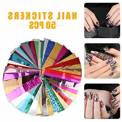 50pcs set nail foil nail art transfer