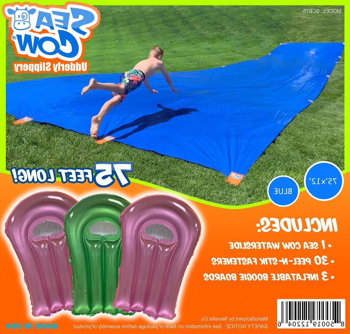 75 foot giant backyard water slide blue