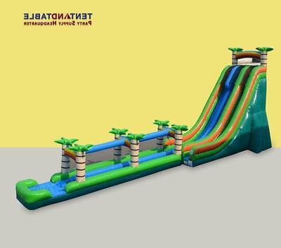 76x27' Commercial Inflatable Water Slide With Long Slip n Slide Tropical  Island