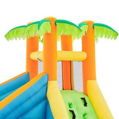 Backyard Inflatable Bouncing Water Park Slide Water Cannon Splash w/ Blower