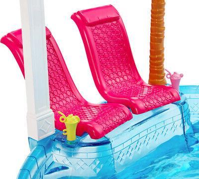 Barbie Glam POOL & SLIDE Play Set -Water Slide + Tree