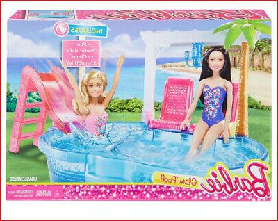 barbie glam pool and slide play set