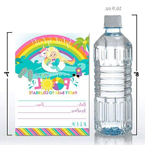 "Blonde Mermaid Unicorn Rainbow Pool 5""x7"" Fill with Twenty White by"