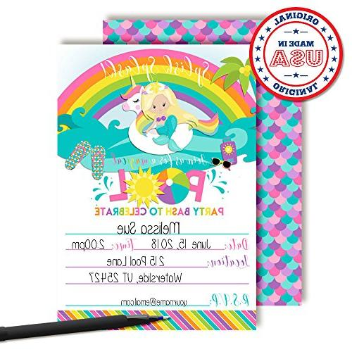 "Blonde Mermaid Rainbow Pool 5""x7"" in with White by"