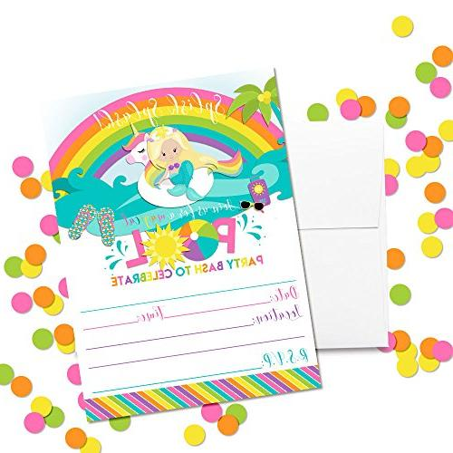 Blonde Mermaid Pool Birthday, 20 with Twenty by