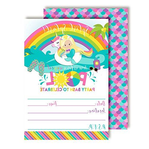 blonde mermaid unicorn rainbow pool