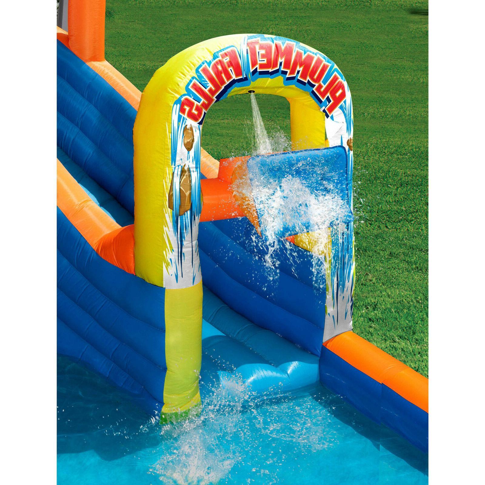 Blue Orange Inflatable Slide Air Blower Outdoor