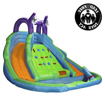 bounce house with climbing wall water slide