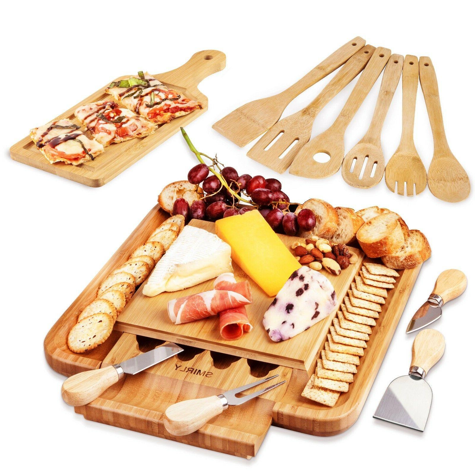 cheese board and cutlery set with slide