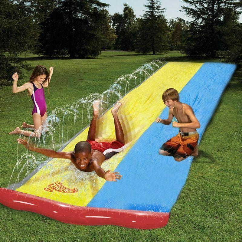 children summer double water slide surf lawn