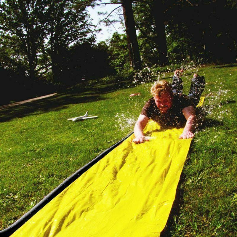 children summer water slide surf lawn water
