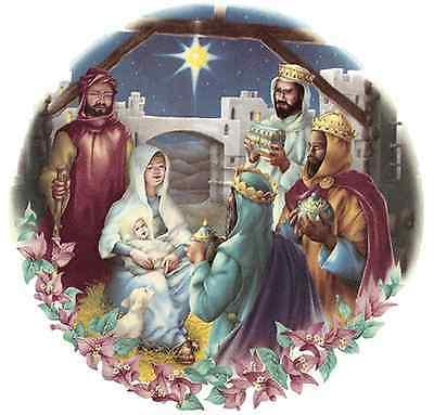 Select Size 1 pc 7 1//2 2398 Christmas Nativity Waterslide Ceramic Decals by The Sheet
