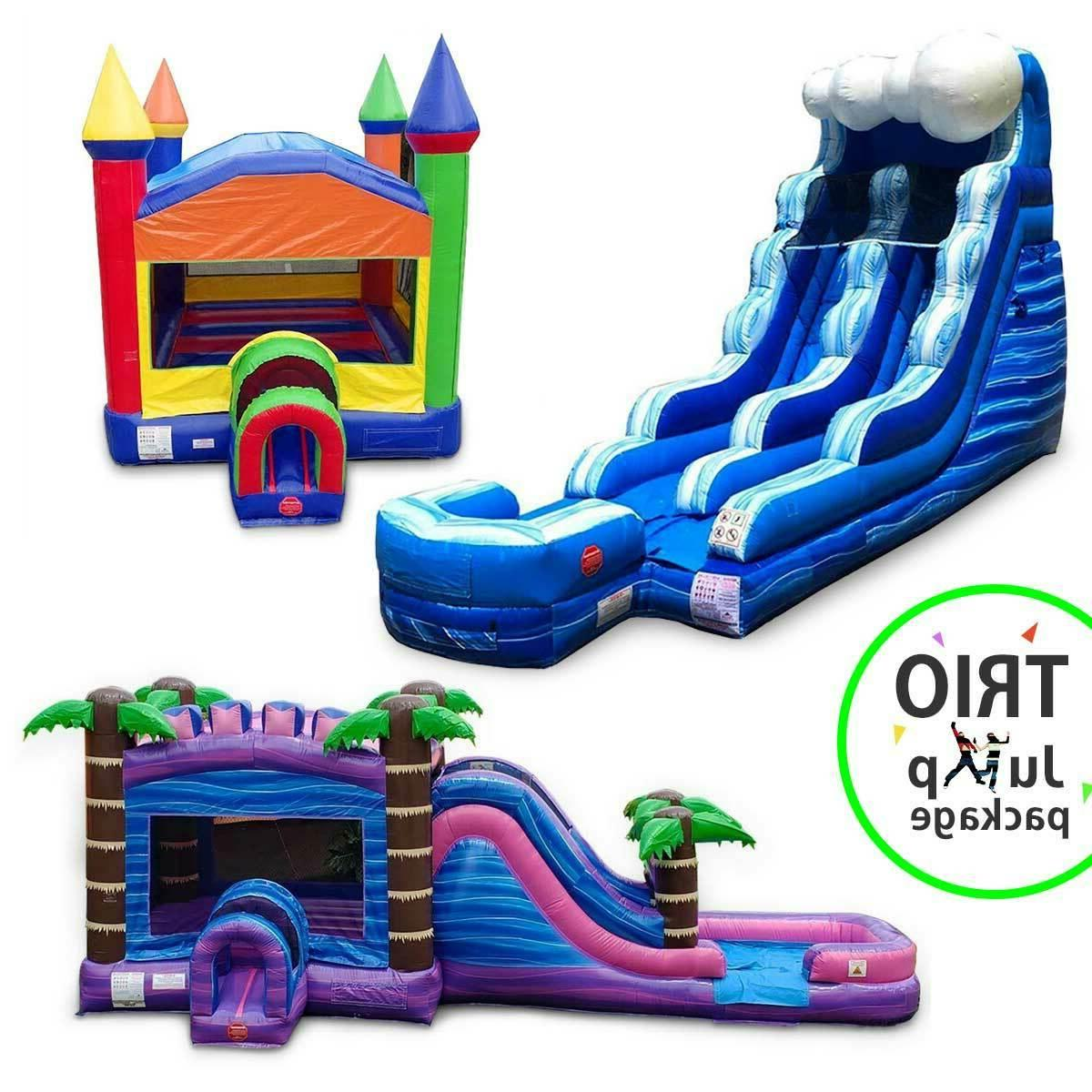 commercial inflatable trio water slide wet dry