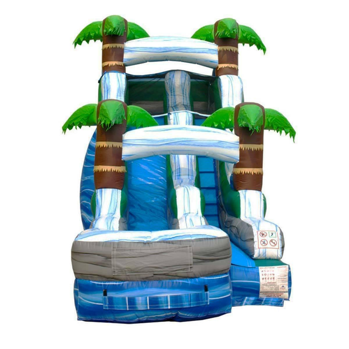 15'H Tropical Commercial Kids Backyard Slide Jumper With Blower