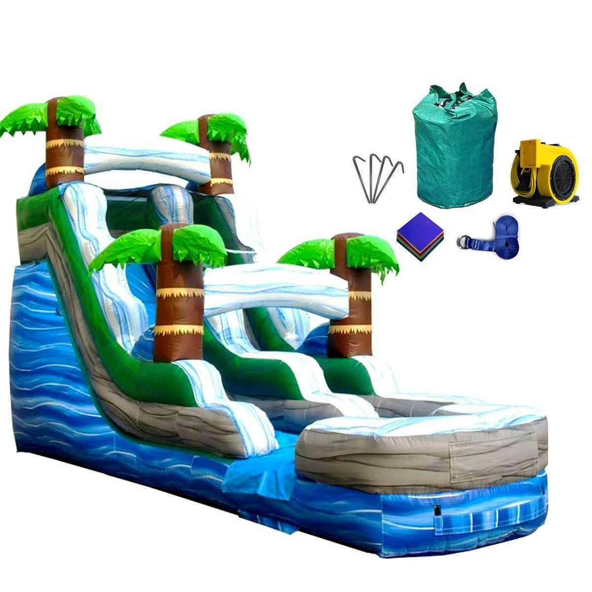 commercial tropical wet dry inflatable water slide