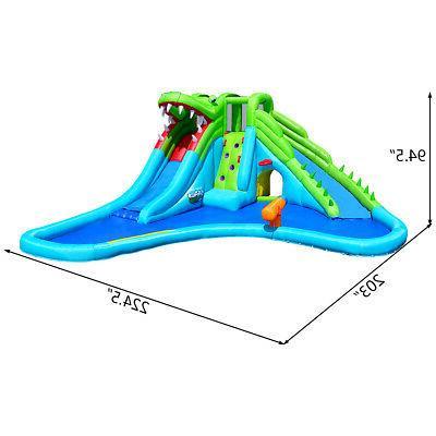 Crocodile Inflatable Park Dual Slides Wall & Pool