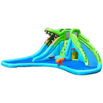 Crocodile Themed Inflatable Slide Bouncer with Two Water Sli