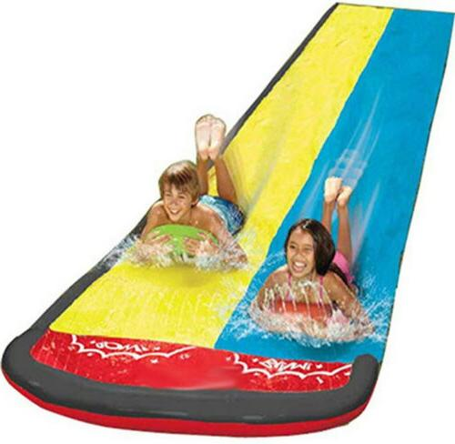 double water slide inflatable lawn water slip