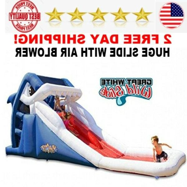 great white wild inflatable water slide