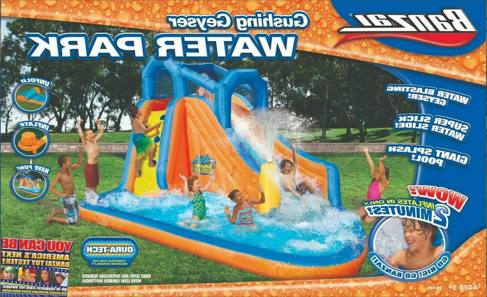 gushing geyser inflatable water park pool slide