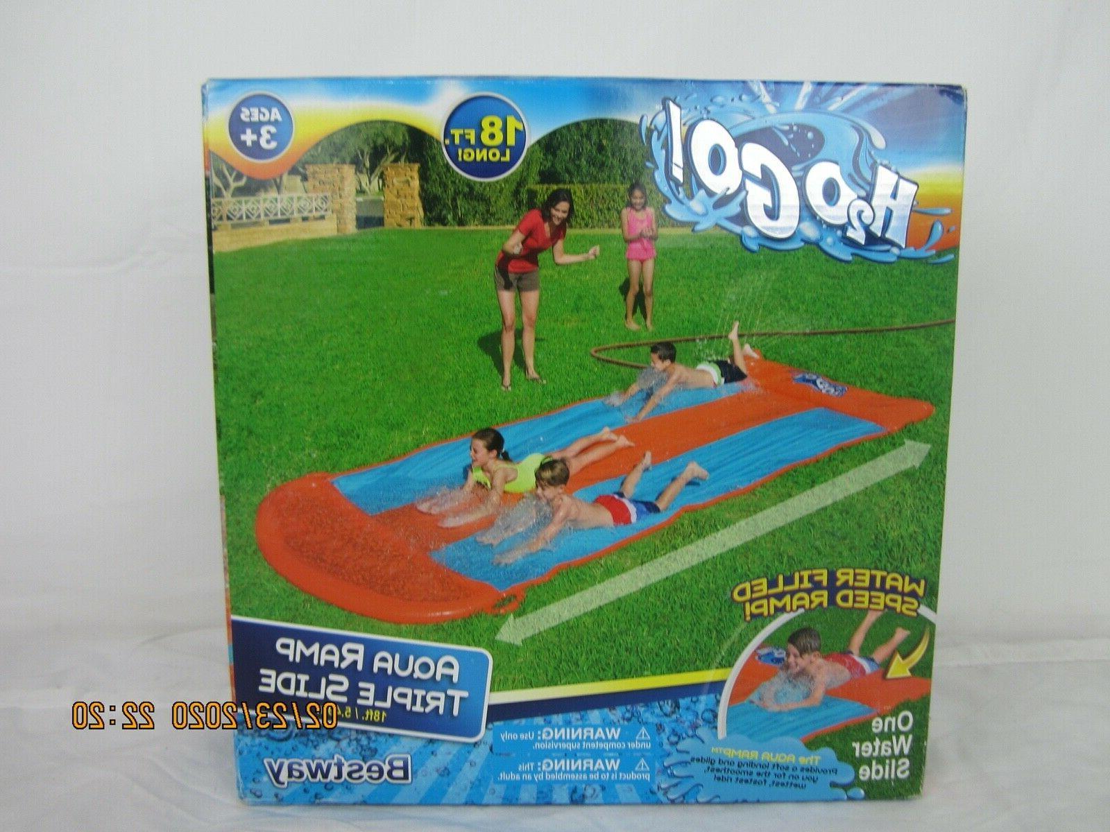 H2OGO 18ft Aqua Ramp Triple Water Slide for ages 3+