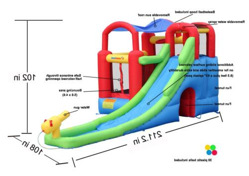 inflatable bounce house and water slide wet