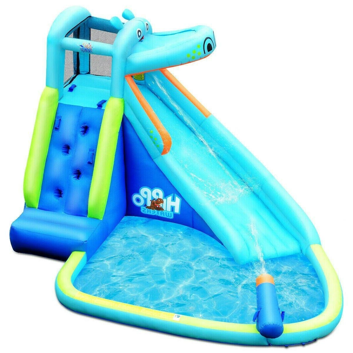 Inflatable Bounce House Kids Big Water Slide Hippo Bouncer C