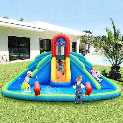 Inflatable Bounce House Kids Water Splash Pool Dual Slides C