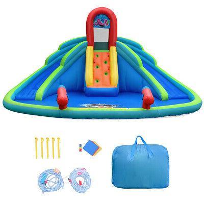 Inflatable Bounce House Kids Water Splash Pool Dual Slides C