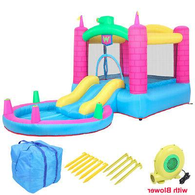 inflatable bounce house water slide pool kids