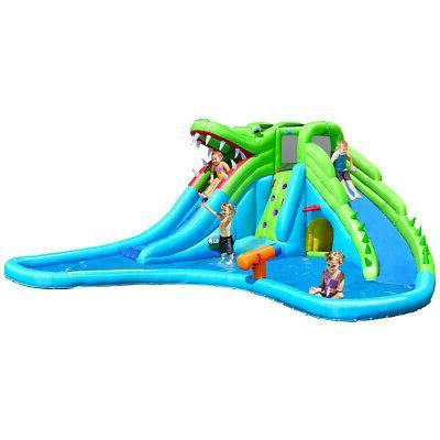 inflatable crocodile water slide climbing wall bounce