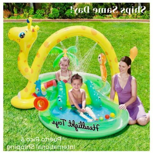 inflatable jungle animal kiddie swimming