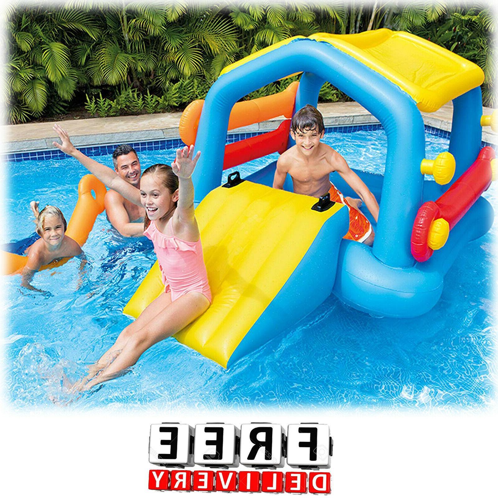 inflatable kids pool slide cabin island play